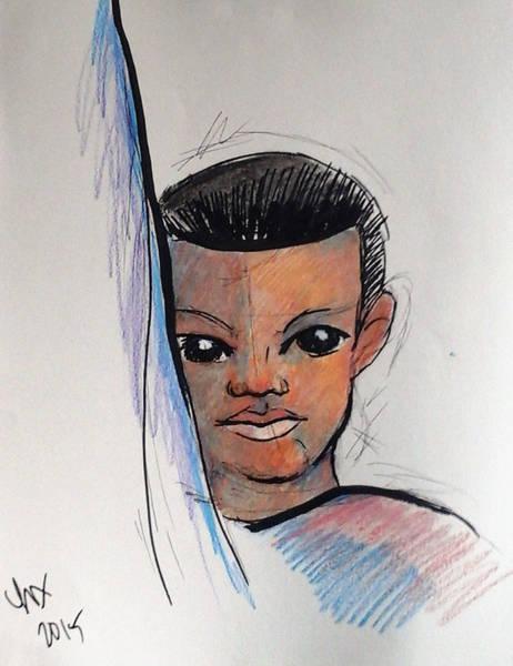 Drawing - Shy Boy by Loretta Nash