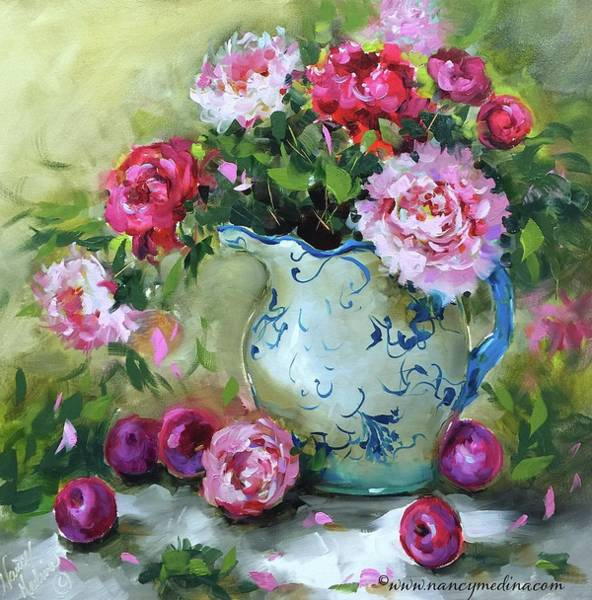 Plums Painting - Shy Plums And Pink Peonies by Nancy Medina