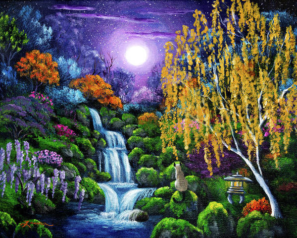 Full Moon Painting - Siamese Cat By A Cascading Waterfall by Laura Iverson