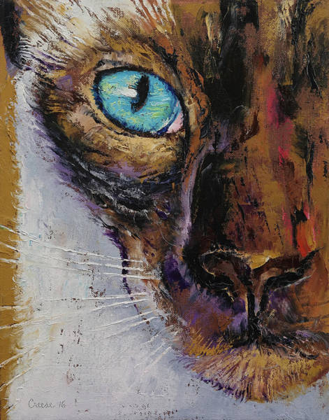 Looking Up Painting - Siamese Cat Painting by Michael Creese