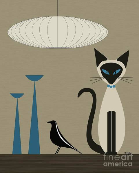 House Cat Wall Art - Digital Art - Siamese Cat With Eames House Bird by Donna Mibus
