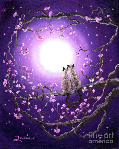 Siamese Painting - Siamese Cats In Pink Blossoms by Laura Iverson