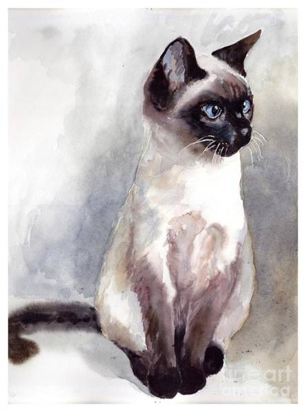 Rosie Wall Art - Painting - Siamese Kitten Portrait by Suzann Sines