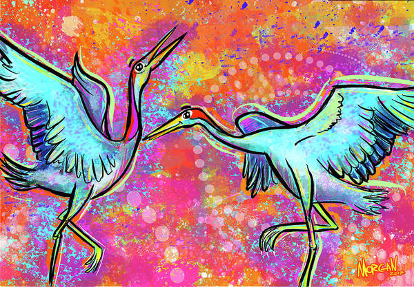 Hong Digital Art - Siberian Cranes by Morgan Richardson