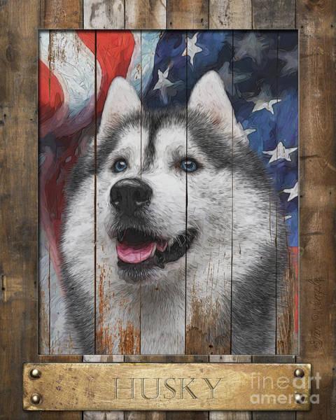 Digital Art - Siberian Husky Flag Poster by Tim Wemple