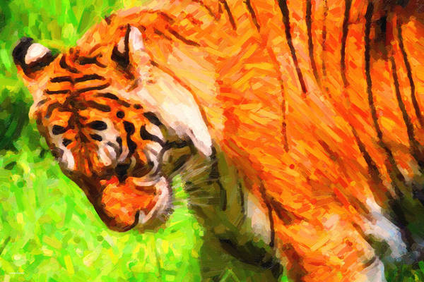 Photograph - Siberian Tiger 2 . Photoart by Wingsdomain Art and Photography