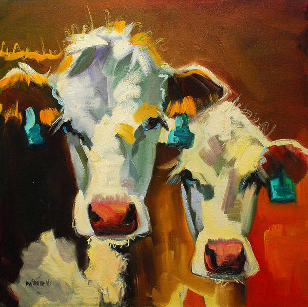 Cows Wall Art - Painting - Sibling Cows by Diane Whitehead