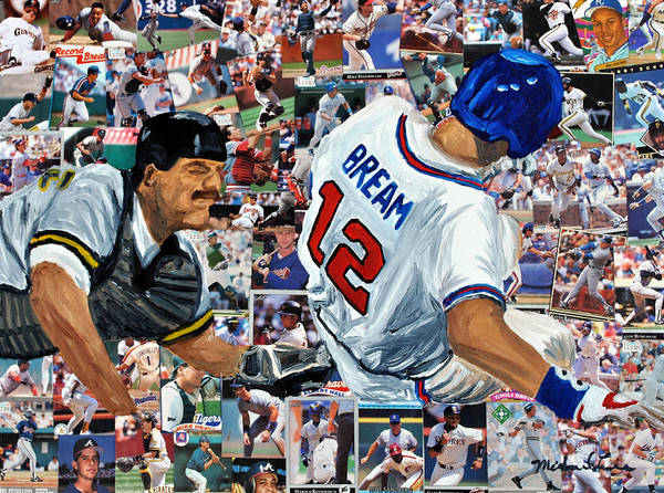 Braves Painting - Sid Bream Slide by Michael Lee