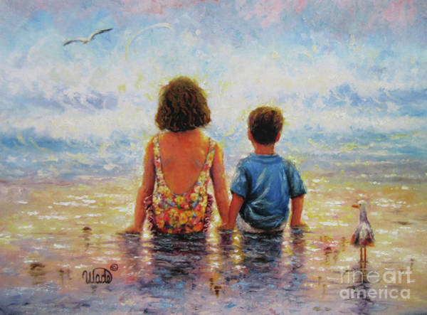 Wall Art - Painting - Side By Side Beach Boy And Girl by Vickie Wade