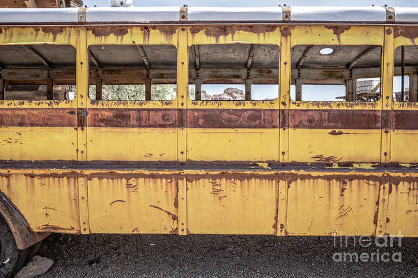 High School Photograph - Side Of An Old Abandoned School Bus In The Desert by Edward Fielding