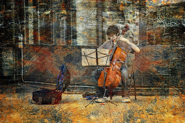 Sidewalk Cellist Art Print