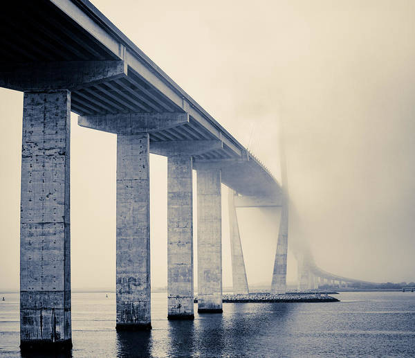 Photograph - Sidney Lanier Bridge Under Fog - Bw by Chris Bordeleau