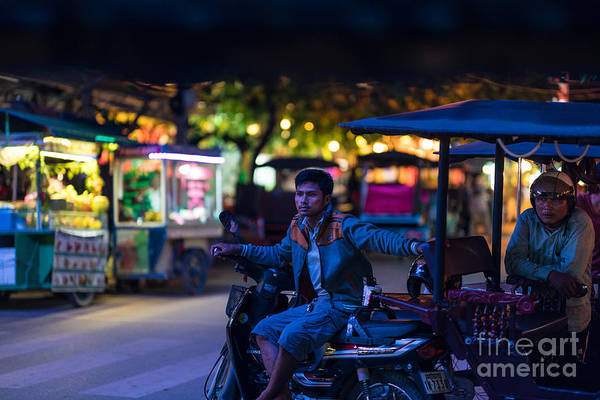 Angkor Wall Art - Photograph - Siem Reap Night Tuk Tuk Driver by Mike Reid