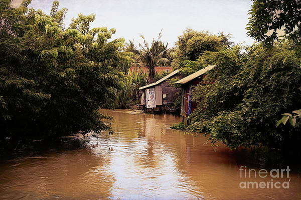 Mud House Photograph - Siem Reap River Homes Shelter  by Chuck Kuhn