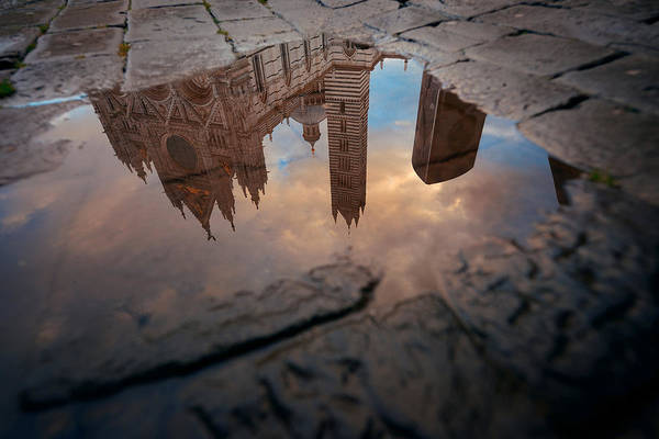 Photograph - Siena Cathedral Reflection by Songquan Deng