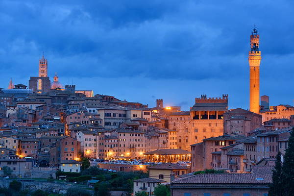 Photograph - Siena Evening With Bell Tower by Songquan Deng