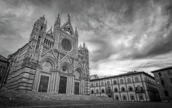 Photograph - Siena Italy Cathedral Morning Bw by Joan Carroll