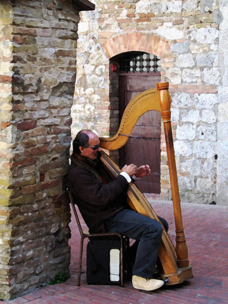 Harp Mixed Media - Siena Strings by Paul Barlo