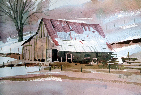 Barn Snow Painting - Sierra Foothills Barn by Donald Maier