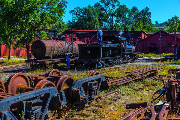 Roundhouse Photograph - Sierra Railway Train 3 Roundhouse by Garry Gay