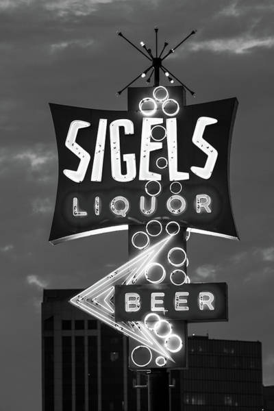 Photograph - Sigels Liquor Sign B W 052618 by Rospotte Photography