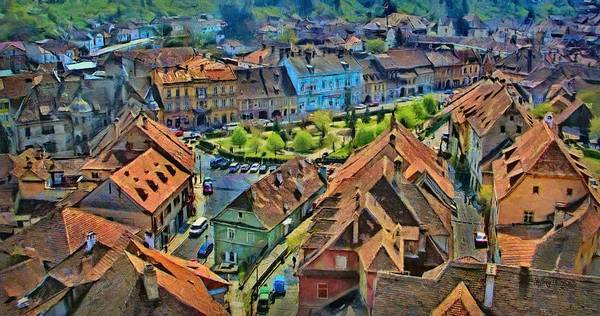 Dracula Painting - Sighisoara From Above by Jeffrey Kolker
