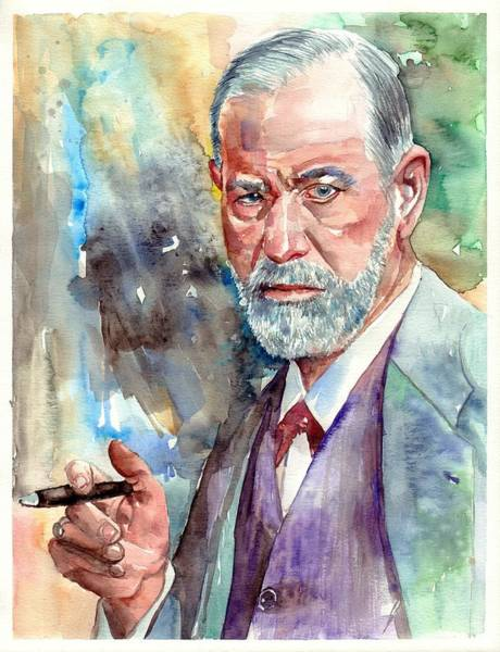 Designs Wall Art - Painting - Sigmund Freud Portrait by Suzann's Art