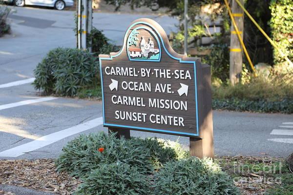 Carmel By The Sea Photograph - Sign Entering Ocean Ave Carmel by Chuck Kuhn