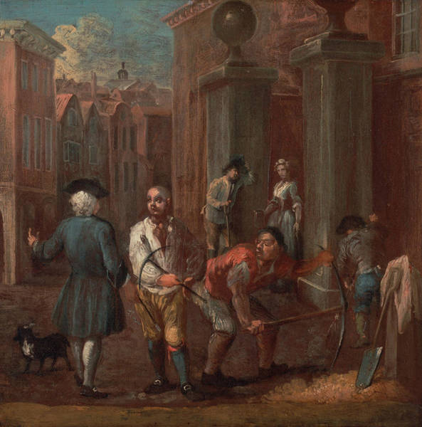 Service Dog Painting - Sign For A Paviour by William Hogarth