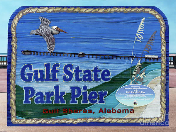 Photograph - Sign Gulf Shores State Park Pier Al 1604a by Ricardos Creations