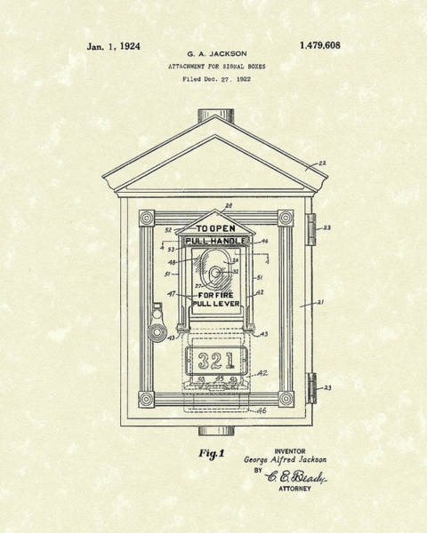 Wall Art - Drawing - Signal Box 1924 Patent Art by Prior Art Design