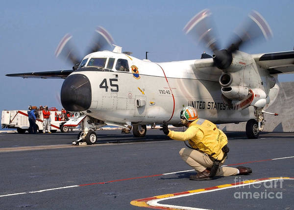 Flight Deck Photograph - Signalman Gives The Launch Signal by Stocktrek Images