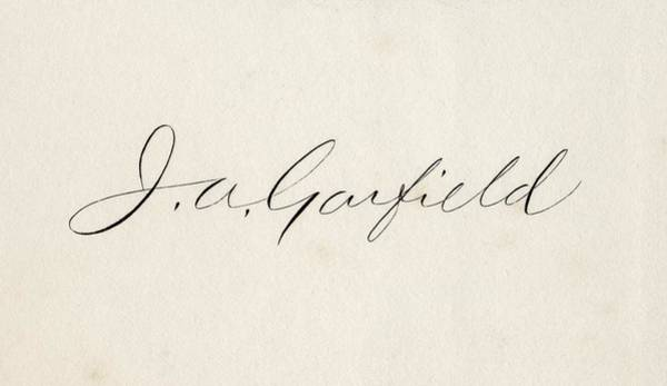 Log Drawing - Signature Of James Abram Garfield 1831 by Vintage Design Pics