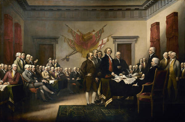 Revolution Wall Art - Painting - Signing The Declaration Of Independence by War Is Hell Store