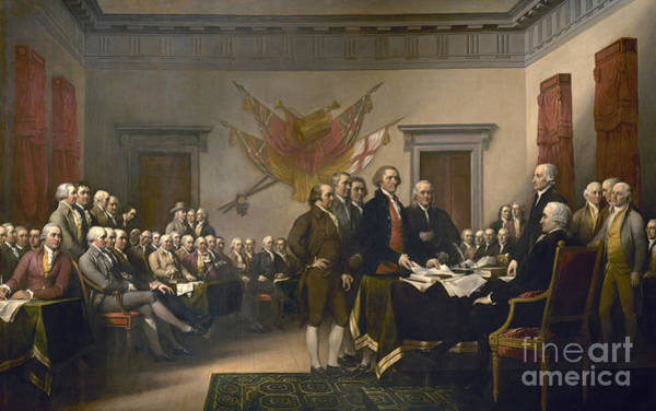 Declaration Of Independence Wall Art - Painting - Signing The Declaration Of Independence, July 4th, 1776 by John Trumbull