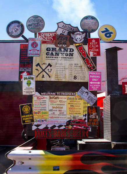 Photograph - Signs And Decals At Cruisers by Bonnie Follett