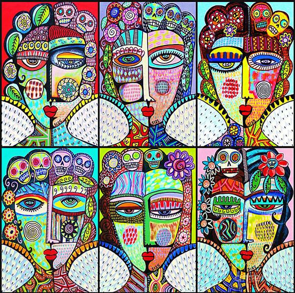 Mixed Media - Silberzweig Day Of The Dead Rainbow Angels by Sandra Silberzweig
