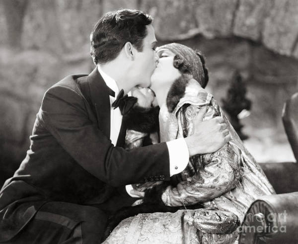 Flk Photograph - Silent Film Still: Kissing by Granger
