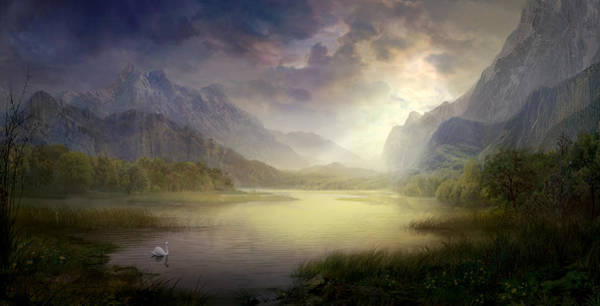 Mountain Lake Painting - Silent Morning by Philip Straub