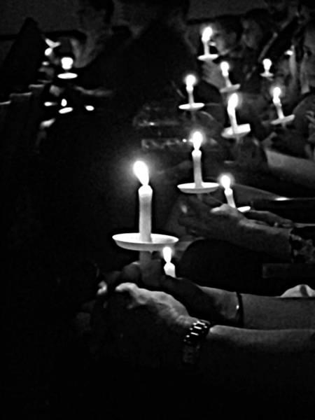Carol Singing Photograph - Silent Night Bw by Sabrina K Wheeler