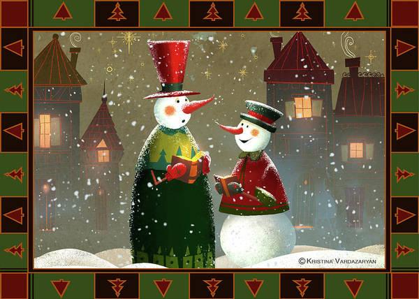 Snowman Wall Art - Painting - Silent Night by Kristina Vardazaryan