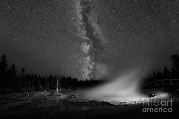Yellowstone National Park Photograph - Silex Spring Milky Way Bw by Michael Ver Sprill