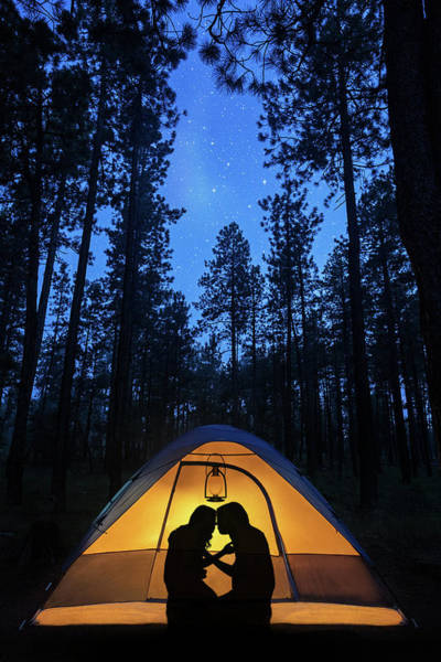 Wall Art - Photograph - Silhouette Couple Camping Under Stars In Tent by Susan Schmitz