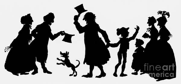 Gent Wall Art - Painting - Silhouette Illustration From A Christmas Carol By Charles Dickens by English School
