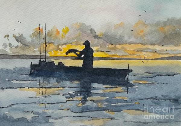 Wall Art - Painting - Silhouette Kayak Fishing by Don Hand