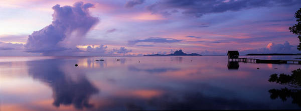 French Polynesia Photograph - Silhouette Of A Hut In The Sea, Bora by Panoramic Images