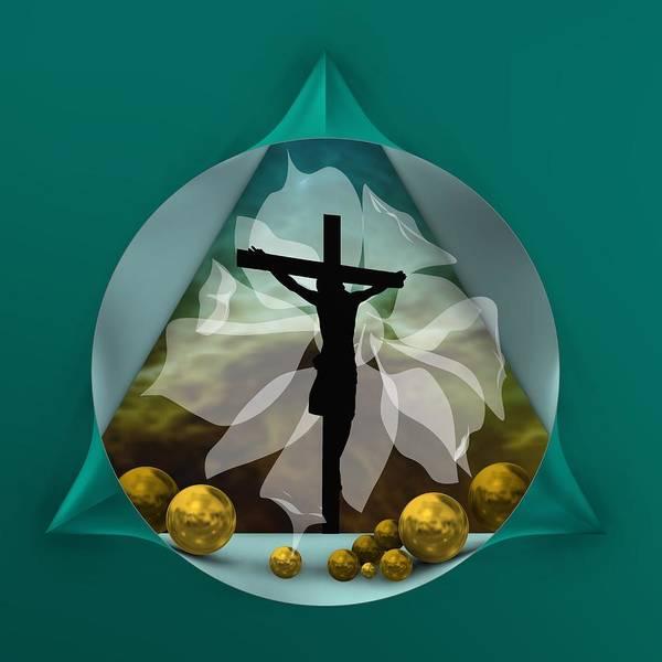 Digital Art - Silhouette Of Crossed Jesus by Alberto RuiZ