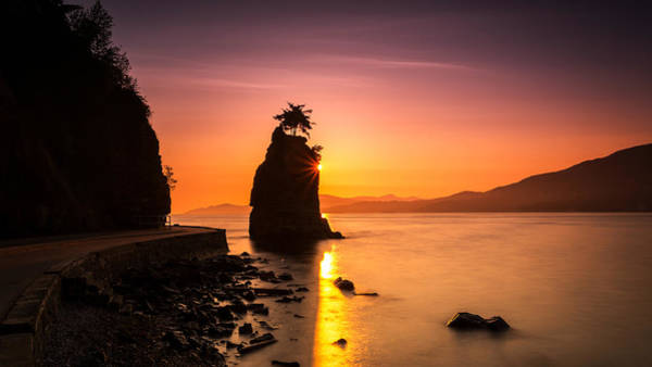 Photograph - Silhouette Of Siwash Rock At Sunset by Pierre Leclerc Photography