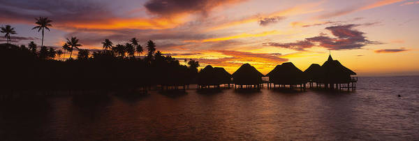 French Polynesia Photograph - Silhouette Of Stilt Houses by Panoramic Images