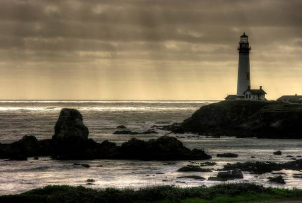 Promontory Point Photograph - Silhouette Sentinel - Pigeon Point Lighthouse - Central California Coast Spring by Michael Mazaika